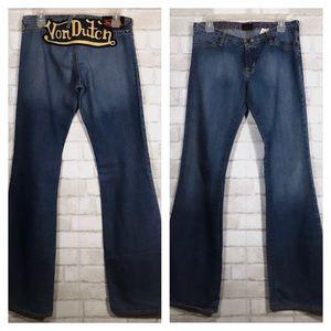Vintage Low Rise Big Back Patch Bell Bottom Jeans